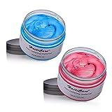 2x120g Hair Color Wax de Cire Couleur de Cheveux, Crème de Coiffure Temporaire, Pommades pour Cheveux, Cire de Coiffure pour Hommes et Femmes - (Bleu et Rouge)