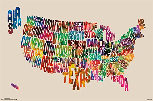 Trends International United States Map Text Wall Poster 22.375