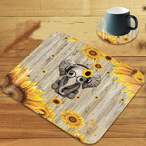 Gaming Mouse Pad, Sunflower and Elephant Customized Designs Non-Slip Rubber Base Gaming Mouse Pads and Coaster Set, Suitable for Office Computers and notebooks. Ideal for Working Or Game
