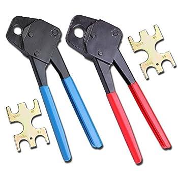 Combo 1/2  and 3/4  Pex Crimper Tool Crimp Plumbing Crimping Copper Ring Gonogo Set Angle Gauge Tools