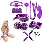 forocean Purple Bed Tool para Seex, BSDM Bɔndage Set Kits de Cuero Bɔndage Kiinky Toys para Parejas Set de iniciación para Principiantes