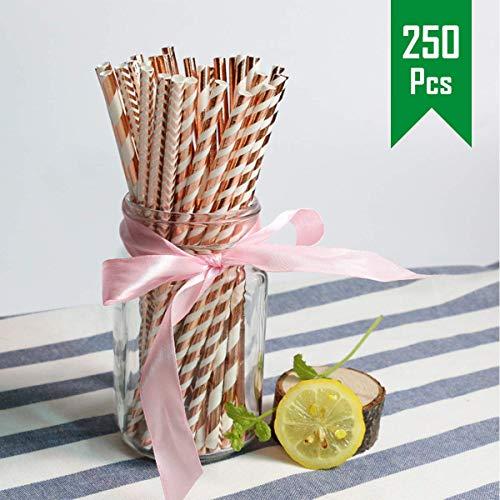 O-Kinee Papier Trinkhalme Rosa Gold, 250 Stück Papierstrohhalme Biologisch Abbaubare Öko Papier Strohhalm Rosa Golden, Einweg-Strohhalme für Cocktail Deko, Geburtstagsfeier und Hochzeit