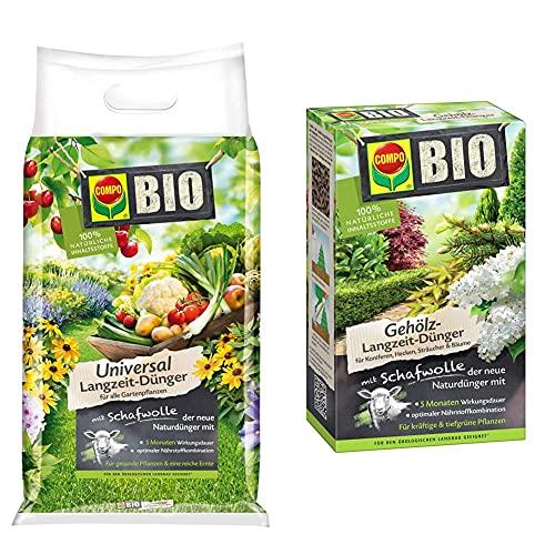 Compo BIO Universal Langzeit-Dünger mit Schafwolle für alle Gartenpflanzen, 4 kg & BIO Gehölz-Langzeit-Dünger mit Schafwolle für Koniferen, Hecken, Sträucher & Bäume, 5 Monate Langzeitwirkung, 2 kg