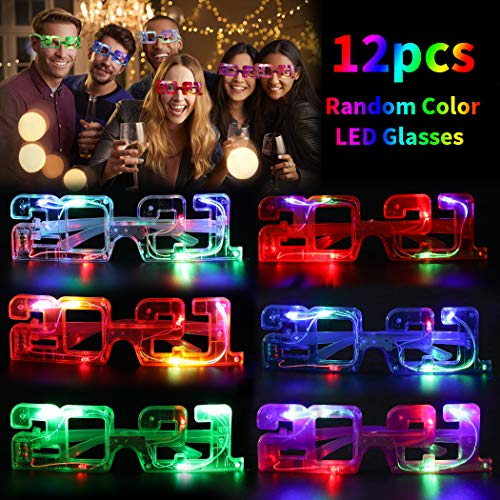 Joyibay LED Brillen für Party, 12 Paare Partybrille LED Leuchtend Set Lustige 2021 Brillen Party Requisite für Rollenspiele am Silvesterabend 2021