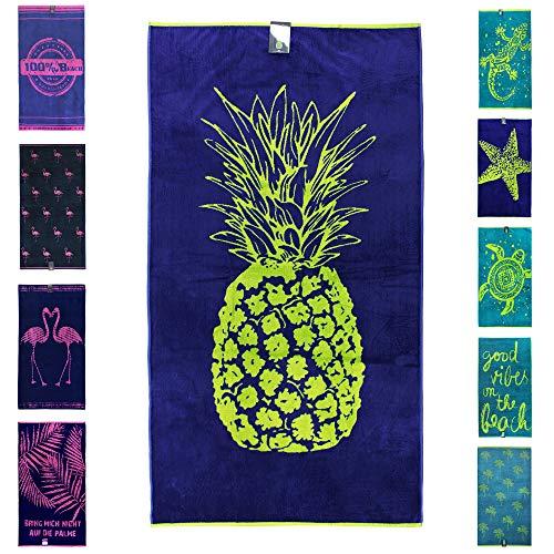jilda-tex Strandtuch 90x180 cm Badetuch Strandlaken Handtuch 100% Baumwolle Velours Frottier Pflegeleicht (Pineapple Green)