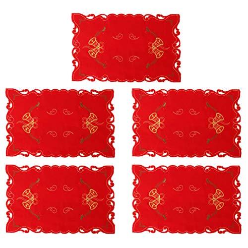 Amosfun 5 piezas manteles navideños mantel de vacaciones para decoración de mesa de comedor (campanas)
