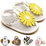 Baby Girls Toddler Infant PU Leather Summer Sandals Flower Princess Flat Bowknot First Walker Shoes Infant Yellow&White 6-12 Months