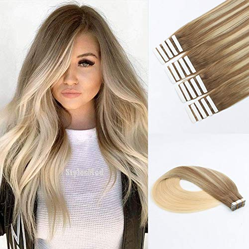 Lovrio Sun-kissed Highlights Tape-in Hair Extensions, Balayage Color Light Brown Fading to Platinum Blonde, Invisible Seamless Double Side Real Remy Human Hair 50 Gram 20 Inch 20 Pieces