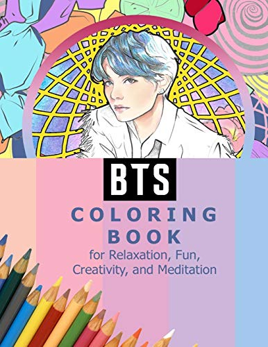 BTS Coloring Book for Relaxation, Fun, Creativity, and Meditation: Beautiful Stress Relieving Coloring Pages for ARMY and Kpop fans I Purple U 8.5 in ... RM, Jimin, V, Jungkook, Suga, JHope, Jin