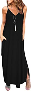 Women's Summer Floral Print Boho Long Plain Dress Spaghetti Strap V-Neck Loose Beach Cami Maxi Sundress with Pockets