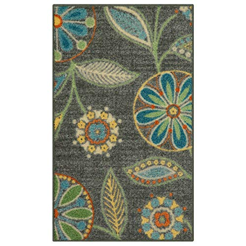 Maples Rugs Reggie Floral Kitchen Rugs Non Skid Accent Area Carpet [Made in USA], Multi, 1'8 x 2'10