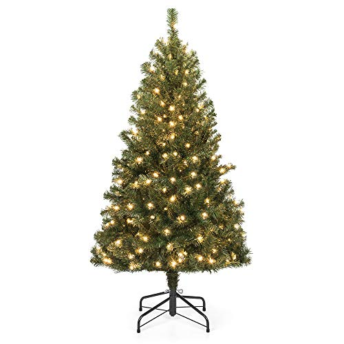 Best Choice Products 4.5ft Pre-Lit Spruce Hinged Artificial Christmas Tree w/ 200 UL-Certified Incandescent Warm White Lights, Foldable Stand