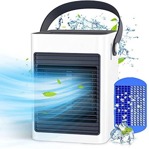 Mobile Klimageräte, KOXXBASE Mini Klimaanlage, USB Luftkühler Verdunstungskühler mit Tragbarem Griff, Persönliche Ventilator mit Wasserkühlung, 3 Geschwindigkeiten, Ideal für Zuhause, Büro und Auto