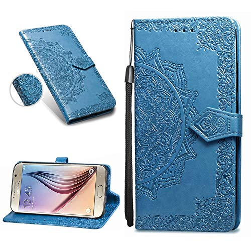 Custodia Samsung Galaxy S6 Edge Portafoglio Pelle Azzurra Mandala Vintage Fiori Disegno Donna Flip Cover Slim Sottile Libro Libretto Portatessere Per Galaxy S6 Edge con Staccabile Laccetto e Pellicola