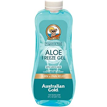 Australian Gold Aloe Vera Freeze Gel with Lidocaine, 8 Ounce | Relieves Sunburn Pain and Hot & Itchy Skin