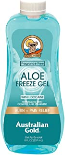 Australian Gold Aloe Vera Freeze Spray Gel with Lidocaine, Relieves Sunburn Pain and Hot & Itchy Skin, 8 Ounce
