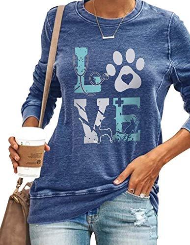 Damen Langarmshirt, Tier Katze Hund Fußabdruck Love Pullover Frauen Elegant Pulli Sweathshirt Teenager Mädchen Langarm Shirts Oberteil Bedrucktes Lässig Bluse Tops (Blau,5XL)