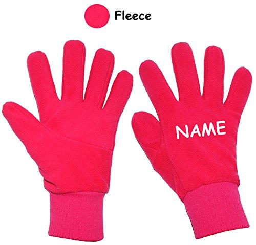 """alles-meine.de GmbH sehr weiche _ Fleece Fingerhandschuhe - """" pink / rosa """" - Größe: 7 bis 8 Jahre - incl. Name - mit extra langen Bündchen - LEICHT anzuziehen ! Kinder?"""