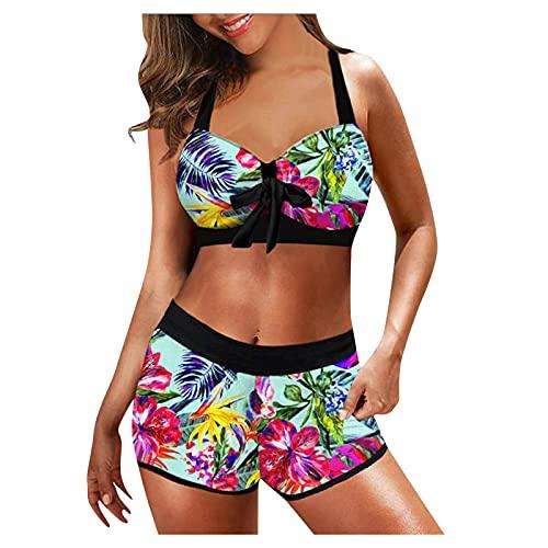 Damen Tankini Badeanzug Zweiteiler Sexy Neckholder Bikini Sets Push Up Swimsuit Gepolsterte Bademode Beachwear High Waist Split Bikinihose Oberteil Strandkleidung Summer Beach Badekleider CM211