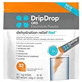 DripDrop ORS - Patented Electrolyte Powder For Dehydration Relief Fast - For Workout, Sweating, Illness, & Travel Recovery - Orange - 32 x 8oz Servings