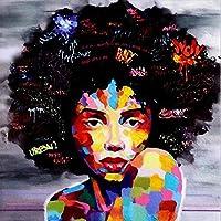 キャンバス塗装 ぶら下げ画 キッチンオフィスホームデコレーショングラフィティ絵画油絵アフリカの女性の肖像ウォールアートブラック抽象アフロポスターキャンバス (Color : Black, Size (Inch) : 30x30cm No Frame)