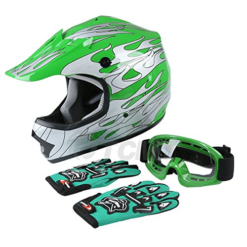 TCMT Dot Youth & Kids Motocross Offroad Street Helmet Green Flame Motorcycle Youth Helmet Dirt Bike Motocross ATV Helmet+Goggles+Gloves M