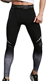 EVEDESIGN Men's Dry Cool Sports Tights Pants Compression Print Baselayer Running Leggings