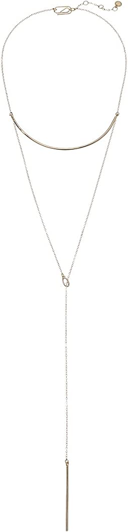 Layered Bar Lariat Necklace 15""