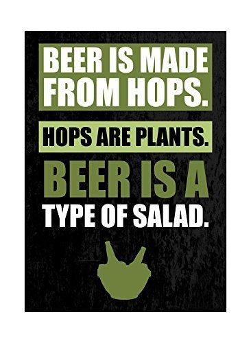 Bier is gemaakt van hop hop zijn planten bier is een soort van salade groene afdrukken leuk drinken humor bar muur decoratie teken