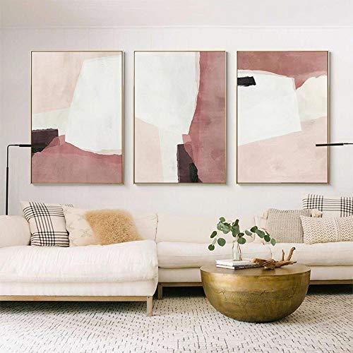 Lienzo rosa Resumeno Carteles de bloques de colores nórdicos Imprimir Cuadros artísticos de pared Modernoos para la sala de estar Decoraciónación de la pared del dormitorio/50x70cmx3 Sin marco