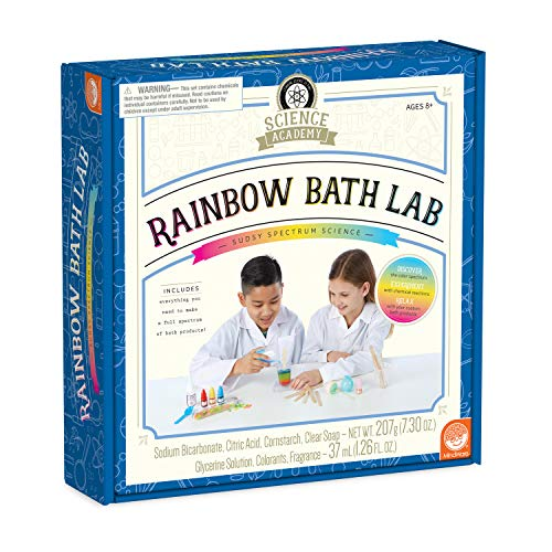 MindWare Science Academy Rainbow Bath lab - Kids & Teens Create 3 Bath Bomb and soap Crafts with Our 27pc Science kit – A Creative DIY Chemistry kit for Both Boys & Girls