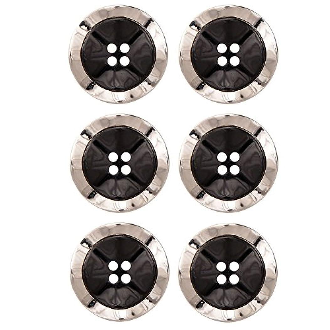 Combination (2 Piece) Button 4 Hole Wavy Shape 40 Line Black / Nikel