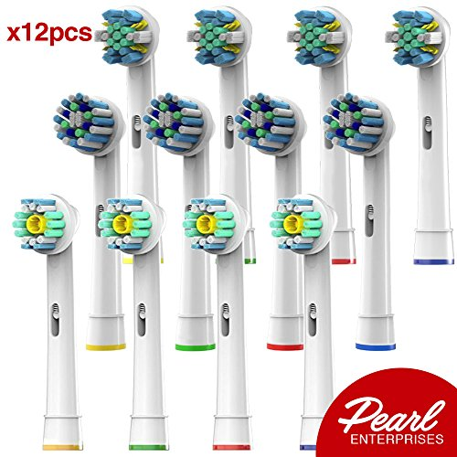 Pearl Enterprises Compatible Replacement Brush Heads - Pack Of 12 Electric Toothbrush Assorted Heads...