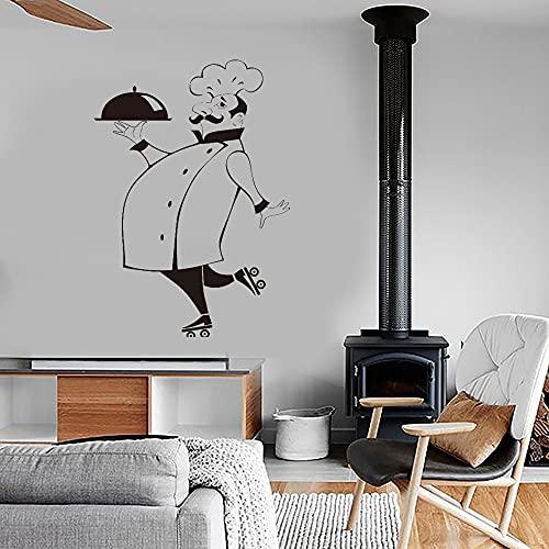 Rgzqrq Pegatina de Pared de Chef Divertido, azulejo de Cocina, Pared de Vidrio Impermeable, Pegatina de Vinilo para Pared, decoración del hogar, Pegatina de Pared para el hogar, 56x80cm