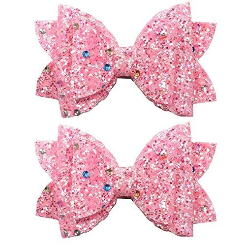 Onsinic 2pcs Pink Girl'S Lovely Fashion Bow Peluqueria Lentejecilla Play Clip para Vida Diaria Festivales De Fiesta De Viajes
