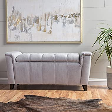 Perris Light Grey Fabric Armed Storage Bench