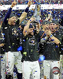 Carlos Correa, Jose Altuve, Alex Bregman Houston Astros 2019 MLB ALDS Trophy Photo (Size: 8
