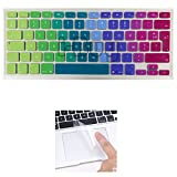 i-Buy Français Clavier Coque de Protection / Couverture AZERTY pour MacBook Air 13' Pro 13' 15' + Protecteur de pavé tactile - Arc en ciel