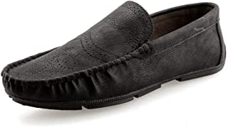 Shangruiqi Penny Loafers for Men Casual Shoes Slip-on Lightweight Thin Business Driving Walking Round Toe Flat Anti-Slip Vegan Microfiber Leather Anti-Skid (Color : Black, Size : 6.5 UK)
