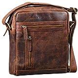STILORD 'Vince' Echtleder Umhängetasche Herren Kleine Vintage Schultertasche für 10,1 Zoll Tablets Herrentasche aus Echtem Leder, Farbe:Zamora - braun