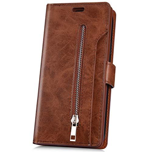 JAWSEU Compatible avec Huawei Mate 20 Pro Coque Portefeuille PU Étui Cuir à Rabat Magnétique avec Fonction Stand et Fentes pour Cartes Fermeture éclair Leather Flip Wallet Case pour Homme Femme