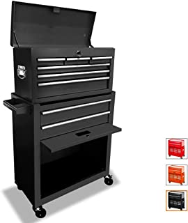 Tool Chest 8-Drawer Tool Box Rolling Tool Chest Removable Tool Cabinet, Sliding Metal Organizer Large Capacity Rolling Tool Storage Box for Garage or Small Work Shop,Black