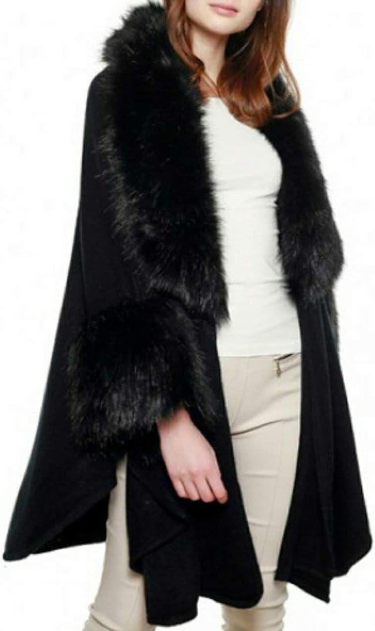 Women's Luxurious Faux Fur Accent Cape Shawl Poncho