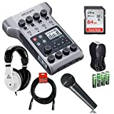 Zoom PodTrak P4 Portable Multitrack Podcast Recorder with 64GB Memory Card, Headphones & Cardioid Microphone Bundle