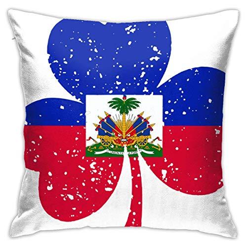 Bandera de Haití St Patrick 'S Throw Pillow Covers Funda de cojín Funda de Almohada con Estampado Floral Funda de Almohada de 40X40 Cm