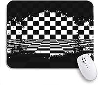 ROSECNY 可愛いマウスパッド フラグレトロブラックホワイトチェッカー破れたチェッカーボードレース抽象滑り止めゴムバッキングマウスパッドノートブックコンピュータマウスマット
