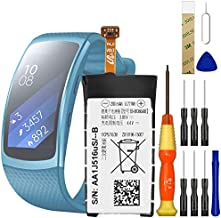 Replacement Battery EB-BR360ABE Battery for Samsung Gear Fit 2 R360 SM-R360 Smartwatch,with Adhesive Tape Tool Repair Kit