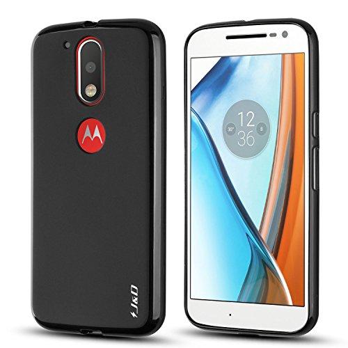 J&D Case Compatible for Moto G4 Plus/Moto G4 Case, Drop Protection Slim Cushion Shock Resistant Protective TPU Slim Case for Motorola Moto G4 Plus Bumper Case, Not for Moto G4 Play, Black