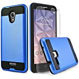 Circlemalls Alcatel IdealXcite Case, Alcatel Raven LTE (A574BL) Case, Alcatel Verso/CameoX Case, Shockproof Phone Cover with [Tempered Glass Screen Protector] (Blue)