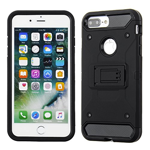Cube Apple iPhone 8 Plus/7P/6s P/6P - Black Kickstand with Black TPU Front Bumper Combo Case